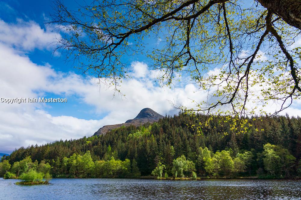 Glencoe Lochan and Pap of Glencoe mountain in Scotland, UK