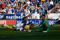 Photo: Steve Bond/Richard Lane Photography. Leicester City v Watford. Coca Cola Championship. 17/04/2010. James Vaughan scores no4 as keeper Scott Loach watches the ball hit the back of the net
