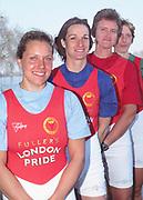 Putney to Mortlake, Thames World Sculling Challenge<br /> Photo Peter Spurrier<br /> Sport - Rowing<br /> Thames World Sculling Challenge<br /> 28/03/2002 <br /> Weigh - in.<br /> Front - Gen Meredith, Claudia Blasberg, Carol Stricki and Ekaterina Karsten .
