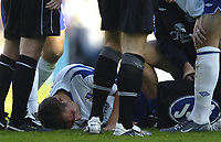 Fotball<br /> Premier League 2004/05<br /> Portsmouth v Everton<br /> 26. september 2004<br /> Foto: Digitalsport<br /> NORWAY ONLY<br /> Alan Stubbs suffers a nesty head injury