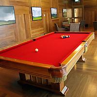 South America, Peru, Urubamba. Pool table at Tambo del Inka Resort & Spa in the Sacred Valley.