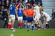 Twickenham, United Kingdom. 7th February, French Hooker and captain, Gilhem GUIRADO,. throws in, during the England vs France, 2019 Guinness Six Nations Rugby Match   played at  the  RFU Stadium, Twickenham, England, <br /> © PeterSPURRIER: Intersport Images