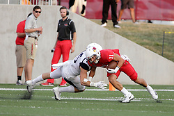 02 September 2017:   Spencer Schnell leans into a Bulldog defender to get a little more yardage during the Butler Bulldogs at  Illinois State Redbirds Football game at Hancock Stadium in Normal IL (Photo by Alan Look)