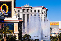 United States, Nevada, Las Vegas Strip. Caesars Palace, The Mirage and the fountains of Bellagio.