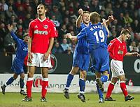 Photo: Scott Heavey<br />Charlton Athletic Vs Everton. 08/02/03.<br />Tomasz Radzinzki celebrates with goal scorer Brian McBride during this Premiership clash at The Valley.