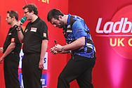 Luke Humphries wins his quarter final match against Dave Chisnall and celebrates during the Ladbrokes UK Open Darts 2021 at stadium:mk, Milton Keynes, England. UK on 7 March 2021.
