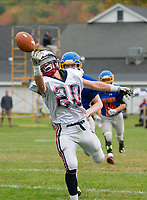 A pass to Plymouth receiver Isaiah Crane is just out of reach during NHIAA Division II football with Gilford-Belmont on Saturday afternoon.   (Karen Bobotas/for the Laconia Daily Sun)