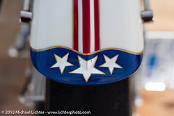 Eric Bennett's 1977 custom Harley-Davidson Shovelhead that used the front water-cooled engine from the original Jammer Streamliner in the RSD Moto Beach Classic custom bike show. Huntington Beach, CA, USA. Sunday October 28, 2018. Photography ©2018 Michael Lichter.