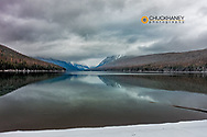 Bowman Lake in winter in Glacier National Park, Montana, USA