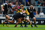 New Zealand's Asafo Aumua tackles Australia prop Faalalie Sione during the World Rugby U20 Championship 5rd Place play-off  match Australia U20 -V- New Zealand U20 at The AJ Bell Stadium, Salford, Greater Manchester, England on Saturday, June  25  2016.(Steve Flynn/Image of Sport)
