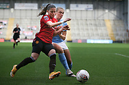 Manchester United defender Ona Batlle (17) and Manchester City forward Georgia Stanway (10) during the FA Women's Super League match between Manchester United Women and Manchester City Women at Leigh Sports Village, Leigh, United Kingdom on 14 November 2020.