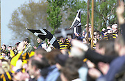 Esher, Surrey. ENGLAND.<br /> <br /> Photo Peter Spurrier<br /> 04/05/2002<br /> Sport - Rugby Union<br /> Tetley's County Championship 1 st Rd<br /> Surrey vs Cornwall<br /> Cornish flag's fly at the end of the game