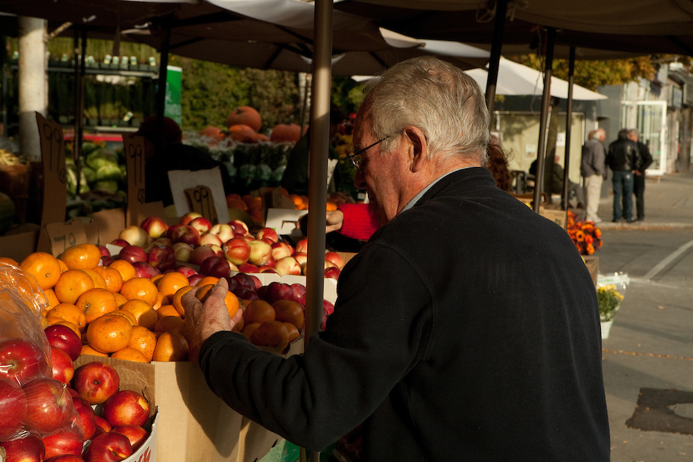 A men examines tangerines at College Fruit & Flower, on College Street in Toronto's Little Italy neighborhood.