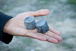 © under license to London News Pictures. 19/02/2011. An example of the size and shape of the rubber bullets being used against protesters in Manama, Bahrain today (19/02/2011).  Photo credit should read Michael Graae/London News Pictures