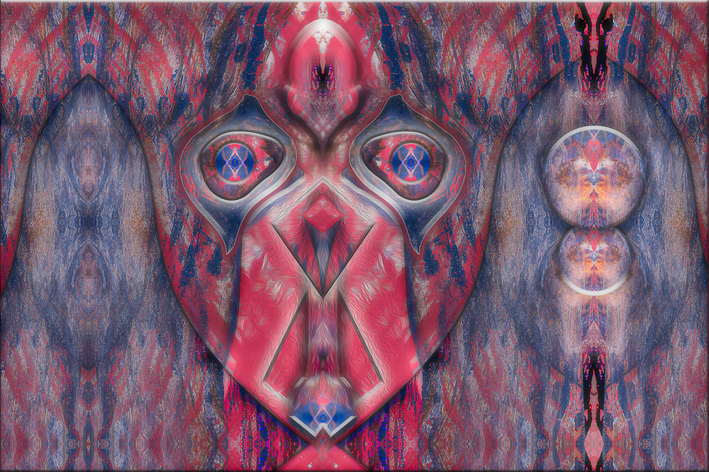 """""""Forest Ceremonial Mask"""", derivative image created from a photo of a forest log, overcast light, February, Clallam County, Olympic Peninsula, WA, USA"""