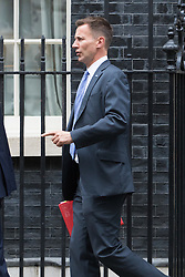 Downing Street, London, August 2nd 2016. Health Secretary Jeremy Hunt leaves Downing Street following the Economic and Industrial Strategy Committee meeting. The committee is comprised of eleven cabinet ministers and has been set up by Prime Minister Theresa May to ensure that Britain is in the best position to successfully leave the European Union.