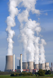 View of Niederaussem coal fired power station in Bergheim district of Nordrhine Westfalia in Germany