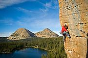 Jay Keener on Guillotine 5.10b, Scout Lake, Uintas, UT
