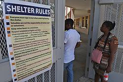 People wait to be registered at the hurricane shelter located at Boynton Beach Community High School. FL. 9/8/17. Photo by Jim Rassol /Sun Sentinel/TNS/ABACAPRESS.COM