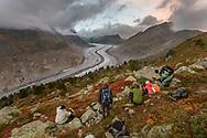 """Der Grosse Aletschgletscher mit Bergen, die in Wolken gehüllt sind, Riederalp, Wallis, Schweiz<br /> <br /> The glacier """"Grosser Aletschgletscher"""" with peaks in the clouds, Riederfurka, Valais, Switzerland"""