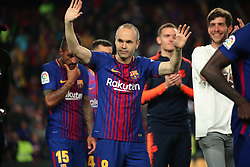 May 6, 2018 - Barcelona, Spain - Andres Iniesta celebration at the end of the match between FC Barcelona and Real Madrid CF, played at the Camp Nou Stadium on 06th May 2018 in Barcelona, Spain.  Photo: Joan Valls/Urbanandsport /NurPhoto. (Credit Image: © Joan Valls/NurPhoto via ZUMA Press)