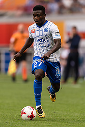 Moses Daddy Ajala Simon of KAA Gent during the Jupiler Pro League match between KAA Gent and RSC Andelecht at the Ghalemco Arena on August 27, 2017 in Gent, Belgium