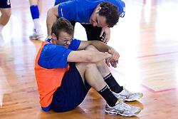 Matjaz Brumen and physiotherapist Sokol Kadrija at practice of Slovenian Handball Men National Team, on June 4, 2009, in Arena Kodeljevo, Ljubljana, Slovenia. (Photo by Vid Ponikvar / Sportida)