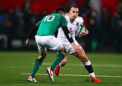Tom Hardwick of England U20 and Harry Byrne of Ireland U20 - Mandatory by-line: Ken Sutton/JMP - 01/02/2019 - RUGBY - Irish Independent Park - Cork, Cork - Ireland U20 v England U20 -