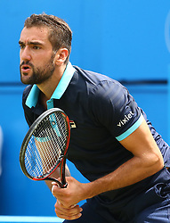 June 22, 2017 - United Kingdom - Marin Cilic CRO  against Stefan Kozlov (USA) during Men's Singles Round Two match on the fourth day of the ATP Aegon Championships at the Queen's Club in west London on June 22, 2017  (Credit Image: © Kieran Galvin/NurPhoto via ZUMA Press)