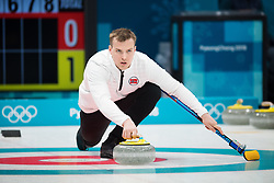 February 9, 2018 - Pyeongchang, SOUTH KOREA - 180209 Magnus Nedregotten of Norway competes in a mixed doubles curling match between South Korea and Norway during the 2018 Winter Olympics on February 9, 2018 in Pyeongchang..Photo: Joel Marklund / BILDBYRN / kod JM / 87609 (Credit Image: © Joel Marklund/Bildbyran via ZUMA Press)