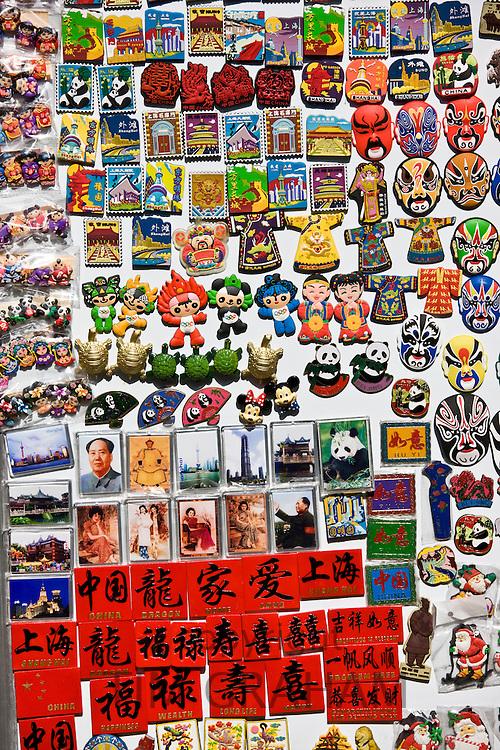 Souvenir fridge magnets for sale in Yu Garden Bazaar Market, Shanghai, China