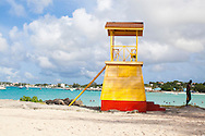 Enterprise Beach, known by the locals as Miami Beach, is located near Oistins in the parish of Christ Church and is immensely popular with the locals for early morning and late evening bathers and swimmers.  The lifeguard station.