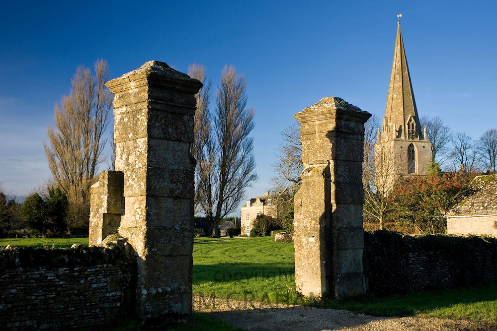 Manor house and St Peter and St Paul Church, Broadwell, The Cotswolds, Oxfordshire, United Kingdom