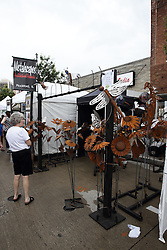 11 July 2015:  Metalscapes by Joseph Mongan of Roscoe Illinois displayed at the 2015 Sugar Creek Arts Festival in Uptown Normal Illinois