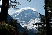 Lenticular (wave) cloud. Spray Park, Mount Rainier National Park, Washington, USA