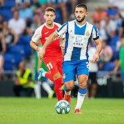 BARCELONA, SPAIN - August 18:  Matias Vargas #22 of Espanyol in action during the Espanyol V  Sevilla FC, La Liga regular season match at RCDE Stadium on August 18th 2019 in Barcelona, Spain. (Photo by Tim Clayton/Corbis via Getty Images)