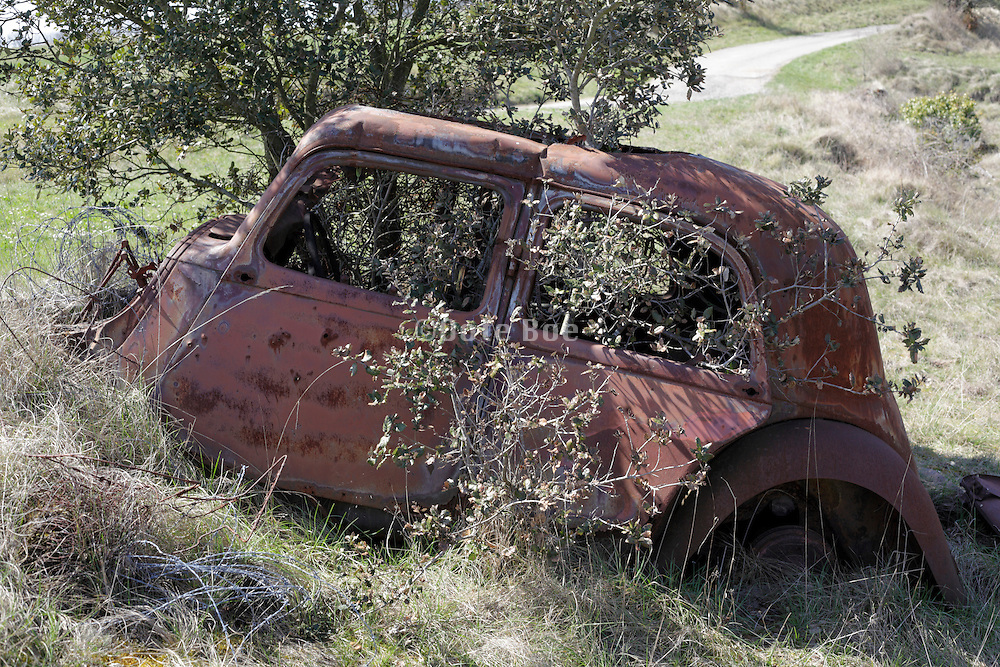 abandoned old rusted car wreck