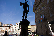 Benvenuto Cellini's Perseus with the Head of Medusa and Michelangelo's David in Piazza della Signoria