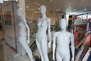 Naked mannequins in the empty interior of Debenhams flagship store on Oxford Street on 28th January 2021 in London, United Kingdom. Debenhams has been an ever present feature all over the UK for 242 years, but it has been announced that it will close all of its shops at the cost of around 12,000 jobs, and go into liquidation. This huge blow to the high street has not come as a surprise as the company has been struggling for some time.
