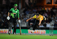 Cricket - 2021 Inaugural The Hundred: Men - The Eliminator - Southern Brave vs Trent Rockets - The Kia Oval - Friday 20th August 2021<br /> <br /> Trent Rockets' Marchant de Lange in action during todays play.<br /> <br /> COLORSPORT/Ashley Western