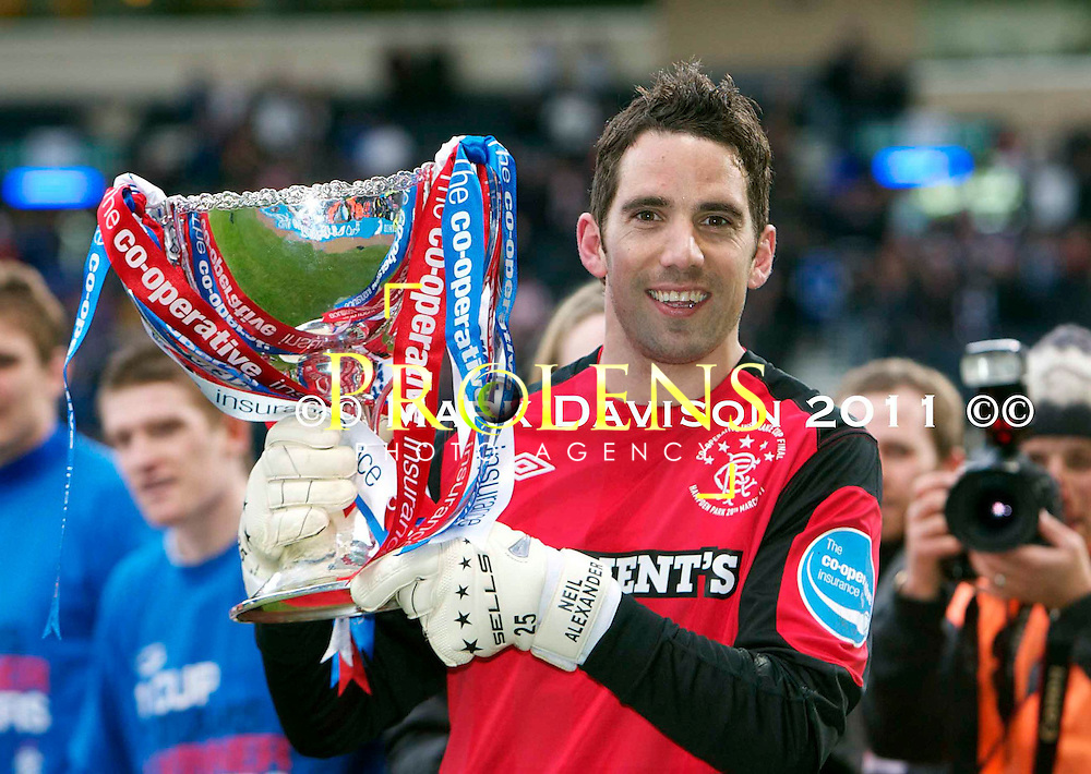 SCOTTISH FOOTBALL LEAGUE/ CO-OP CUP FINAL 2011.<br /> <br /> RANGERS KEEPER NEIL ALEXANDER WITH THE CUP.<br /> Picture, Mark Davison/ Prolens Photo Agency/PLPA.<br /> Sunday 20th March 2011.