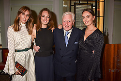 Left to right, Lady Alice Manners, Lady Violet Manners, Sir Benjamin Slade and Lady Eliza Manners at a party to celebrate the publication of Resolution by The Duke of Rutland and Emma Ellis held at Trinity House, Tower Hill, London England. 10 April 2017.