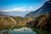 The wide part of the Marsyangdi river just north of the Mid-Marsyangdi hydro electricity dam on the 8th of March 2020  Lamjung District in Gandaki Pradesh, Nepal. The Mid-Marsyangdi hydro electricity plant produces 72MW  of power and saves around 340,000 tonnes of CO2 emissions annually.  (photo by Andrew Aitchison / In pictures via Getty Images)