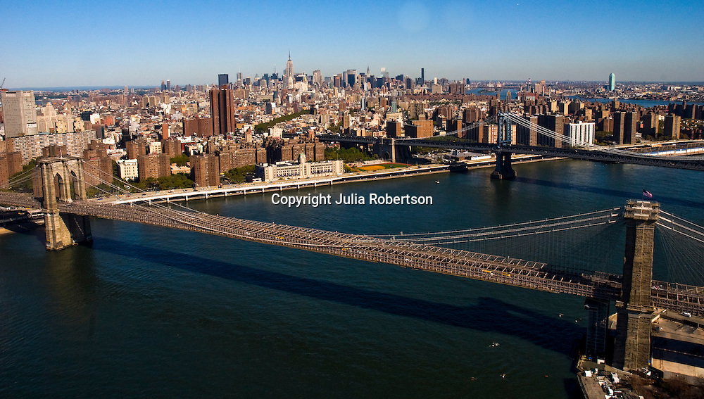 Aerial view of Brooklyn Bridge,  Manhattan bridge,  Dumbo area of Brooklyn, Midtown Manhattan, new york