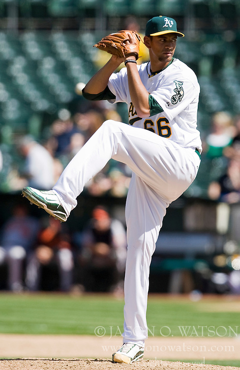 April 18, 2010; Oakland, CA, USA;  Oakland Athletics starting pitcher Tyson Ross (66) during the eighth inning against the Baltimore Orioles at Oakland-Alameda County Coliseum. Baltimore defeated Oakland 8-3.
