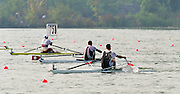 St Catherines, CANADA,  Men's Single Sculls Final, NZL M1X Rob WADDELL, Gold medalist, SUI M1X Xeno MULLER Silver Medalist and CAM M1X Derek PORTER Bronze Medalist approacking the finishing line at the 1999 World Rowing Championships - Martindale Pond, Ontario. 08.1999..[Mandatory Credit; Peter Spurrier/Intersport-images]  .. 1999 FISA. World Rowing Championships, St Catherines, CANADA