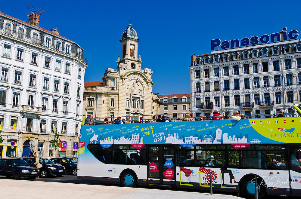 Tour bus at Place Bellecour, Lyon, France (UNESCO World Heritage Site)