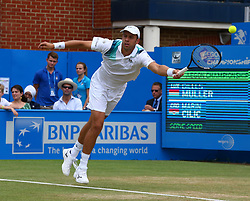 June 24, 2017 - London, United Kingdom - Giiles Muller (lux) against Marin Cilic (CRO) during Men's Singles Semi Final match on the day  six of the ATP Aegon Championships at the Queen's Club in west London on June 24, 2017  (Credit Image: © Kieran Galvin/NurPhoto via ZUMA Press)