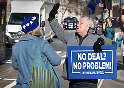 © Licensed to London News Pictures. 14/02/2019. London, UK. A Pro EU supporter (L) argues with a Brexit supporter outside Parliament ahead of a Brexit vote in the House of Commons later today. Photo credit: Peter Macdiarmid/LNP