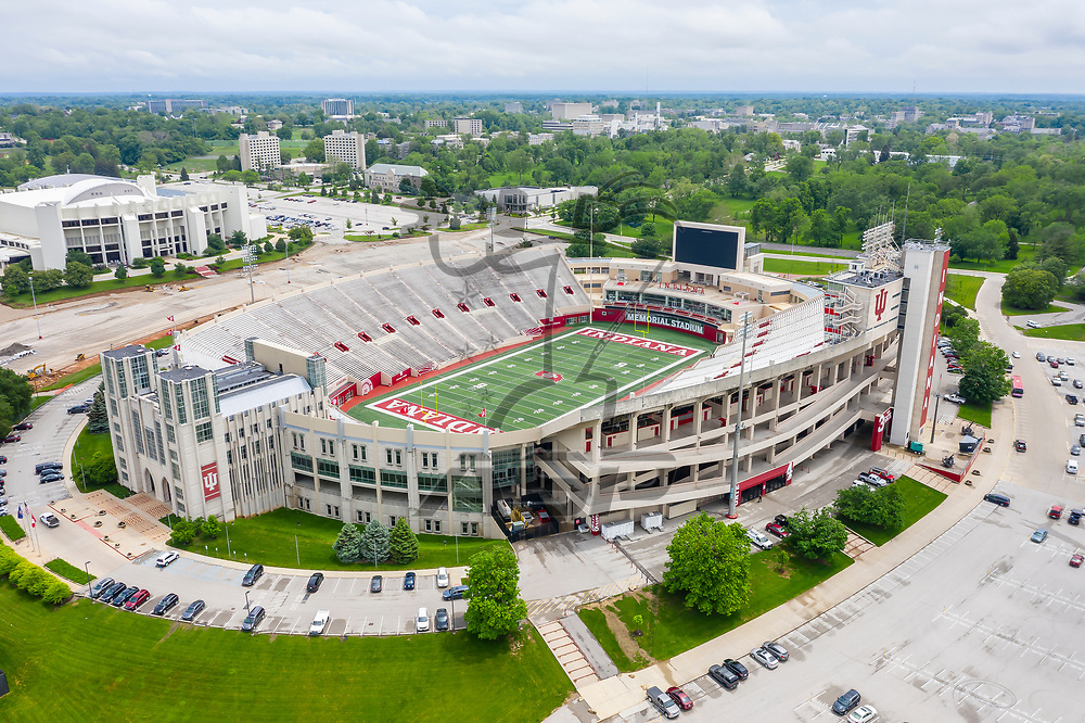 May 22, 2019 - Bloomington, Indiana, USA: Aerial Views of Memorial Stadium, also known as The Rock, is a stadium in Bloomington, Indiana. It is primarily used for football, and is the home field of the Indiana Hoosiers.